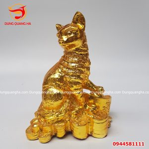 Tượng mèo phong thủy mạ vàng cao cấp