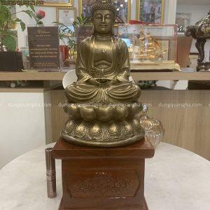 Tượng Phật A Di Đà bằng đồng cao 30cm hun giả cổ