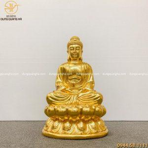 Tượng Phật A Di Đà bằng đồng dát vàng 9999 cao 47cm