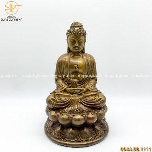 Tượng Phật A Di Đà bằng đồng tạo màu giả cổ cao 30cm