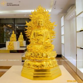 Tượng Phật A Di Đà bằng đồng thếp vàng 9999 tôn nghiêm