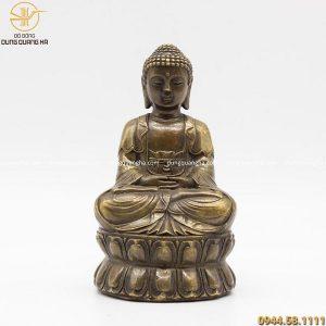 Tượng Phật A Di Đà bằng đồng vàng hun đen giả cổ cao 15cm