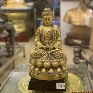 Tượng Phật A Di Đà ngồi thiền bằng đồng vàng cao 30cm
