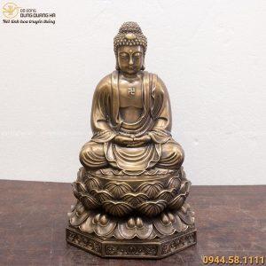 Tượng Phật Adida đế bát giác hun giả cổ 40x24cm nặng 8kg