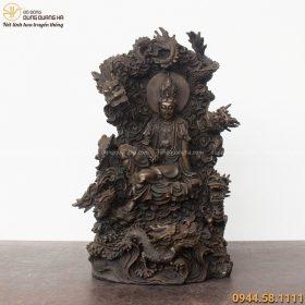 Tượng Phật Bà Quan Âm ngự long bằng đồng hun đen tinh xảo