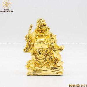Tượng Phật Di Lặc cầm túi tiền bằng đồng mạ vàng 24k