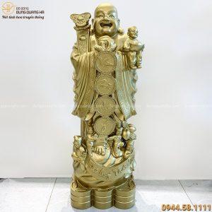 Tượng Phật Di Lặc đẹp bằng đồng đỏ đứng chúc phúc 80x28x23 cm