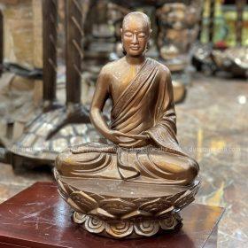 Tượng Phật Hoàng Trần Nhân Tông tọa thiền bằng đồng cao 50cm