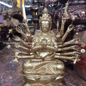 Tượng Phật mẫu Chuẩn Đề bằng đồng cao 81 cm