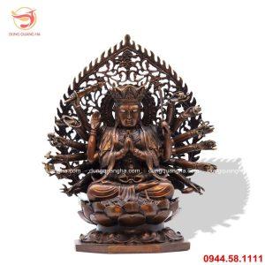Tượng Phật Mẫu Chuẩn Đề bằng đồng hun đen giả cổ