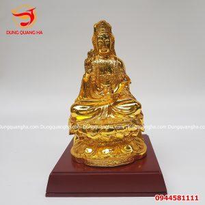 Tượng Phật Quan Âm bằng đồng mạ vàng trang nghiêm