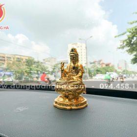 Tượng Phật Quan Âm để xe ô tô bằng đồng mạ vàng