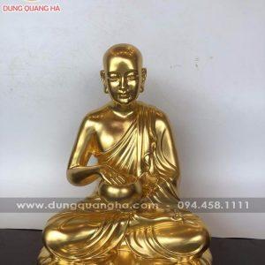 Tượng Phật Sivali dát vàng 9999 cao 36cm ngang 30cm