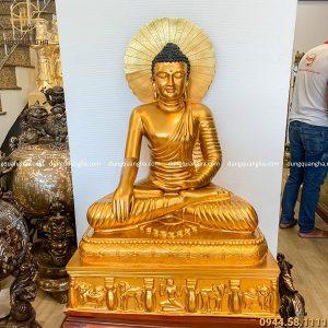 Tượng Phật Thích Ca bằng đồng đỏ cao 1m đẹp tinh xảo