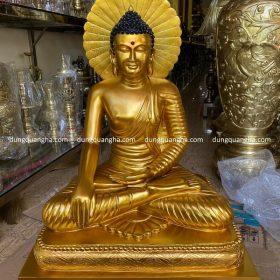 Tượng Phật Thích Ca bằng đồng đỏ dát vàng 9999 cao 90cm