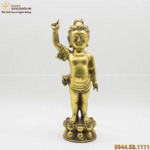 Tượng Phật Thích Ca Đản Sanh cao 40cm bằng đồng vàng