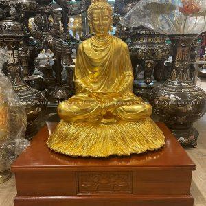 Tượng Phật Thích Ca đẹp tôn nghiêm thếp vàng 9999 cao 60cm