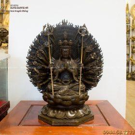 Tượng Phật Thiên Thủ Thiên Nhãn 60x52cm bằng đồng vàng hun