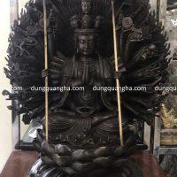 Tượng Phật Thiên Thủ Thiên Nhãn bằng đồng hun đen cao 61 cm