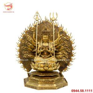 Tượng Phật Thiên Thủ Thiên Nhãn bằng đồng vàng mộc