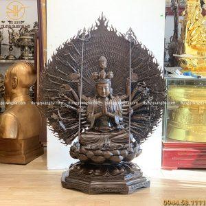 Tượng Phật Thiên Thủ Thiên Nhãn cao 1m3 đồng vàng hun giả cổ
