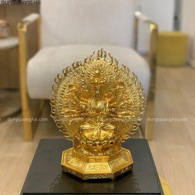 Tượng Phật Thiên Thủ Thiên Nhãn cao 26cm thếp vàng 9999
