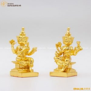 Tượng Phật tứ diện bằng đồng thếp vàng 9999