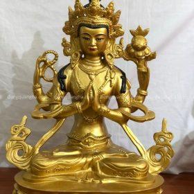 Tượng Phật Tứ Thủ thiết kế độc đáo bằng đồng đỏ cao 61cm