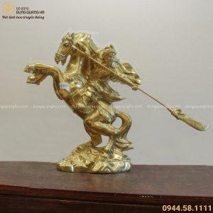 Tượng Quan Công cưỡi ngựa cao 50cm bằng đồng catut tinh xảo