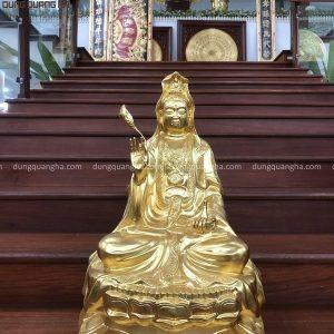 Tượng Quan Thế Âm Bồ Tát đồng đỏ thếp vàng 9999 cao 61cm