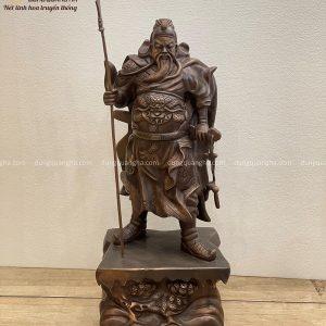 Tượng Quan Vân Trường cao 70cm bằng đồng đỏ hun giả cổ