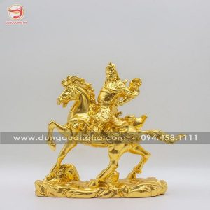 Tượng Quan Vân Trường cưỡi ngựa bằng đồng thếp vàng 9999