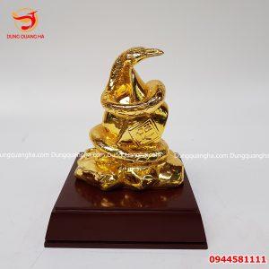 Tượng rắn phong thủy bằng đồng mạ vàng 24k