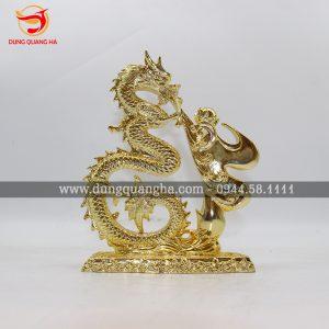 Tượng rồng bằng đồng phun lửa mạ vàng đẹp tinh xảo