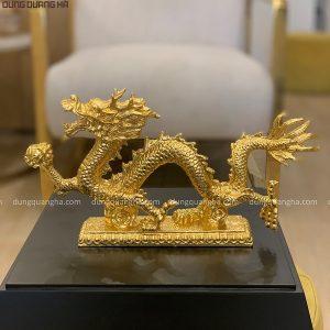 Tượng rồng nắm long châu thếp vàng 9999 chiều ngang 30cm