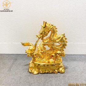Tượng rồng phong thủy phun lửa bằng đồng dát vàng 9999