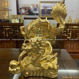 Tượng rồng phun lửa bằng đồng cao 47cm thếp vàng 9999