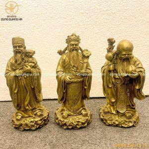 Tượng Tam Đa Phúc Lộc Thọ bằng đồng vàng mộc