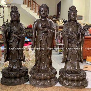 Tượng Tam Thánh Phật đứng cao 1m2, mỗi pho nặng 46kg