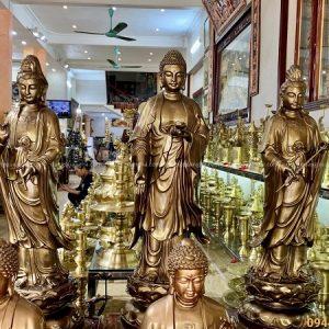 Tượng tam Thánh Phật đứng tôn nghiêm cao 1m08 bằng đồng đỏ