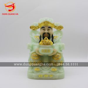 Tượng Thần Tài bằng đá thiếp vàng 9999