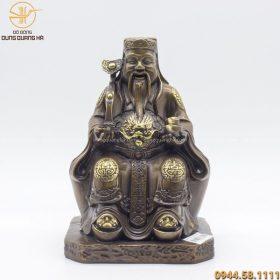 Tượng Thần Tài đẹp bằng đồng vàng hun kích thước 25 x 17cm