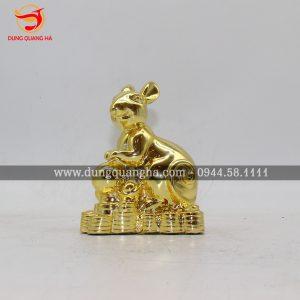 Tượng thỏ bằng đồng mạ vàng cỡ nhỏ 8cm
