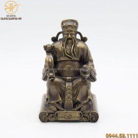 Tượng thờ Thần Tài bằng đồng hun nâu kích thước 19 x 12cm