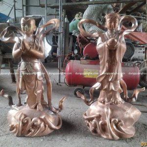 Tượng Tôn Ngộ Không và Tiên Đồng Ngọc Nữ cao 80 cm đúc bằng đồng đỏ