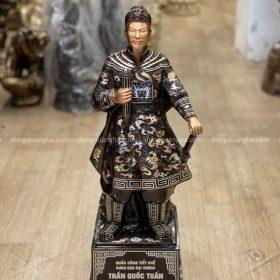 Tượng Trần Hưng Đạo bằng đồng khảm tam khí làm kỹ cao 70cm