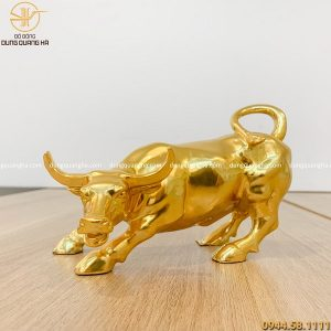 Tượng trâu bằng đồng mạ vàng 24k dài 18cm đẹp tinh xảo