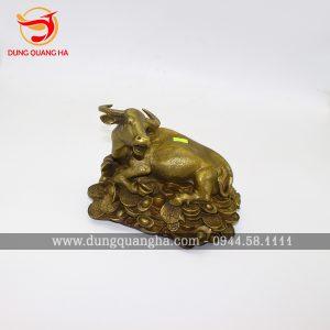 Tượng trâu bằng đồng nằm trên tiền vàng