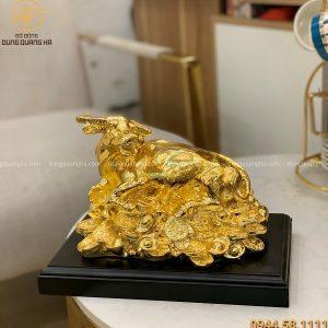 Tượng trâu đồng nằm tiền mạ vàng 24k kích thước 24 x 17 cm