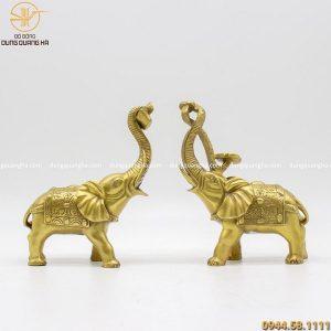 Tượng voi như ý bằng đồng vàng kích thước 17 x 13cm